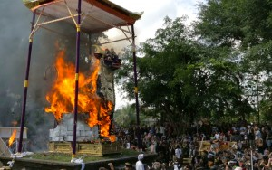 Royal Cremation, Bull on Fire