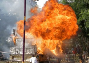 Explosion at Royal Cremation, Ubud, Bali, Indonesia