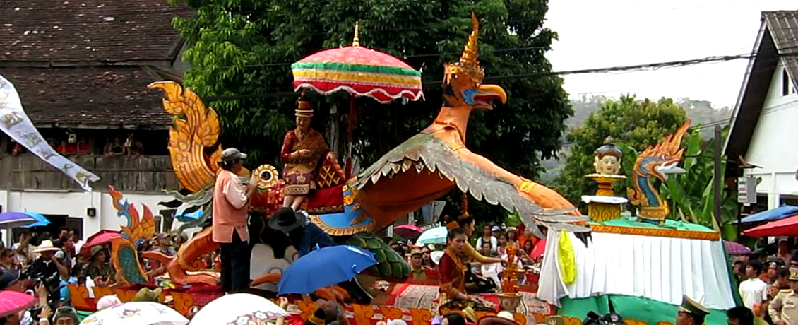 With Ka Bin La Phom at the front of the float, the daughters take up positions on and under a Garuda