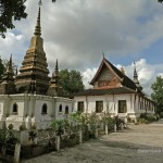 Wat That Luang and the golden stupa containing the ranaons of the last Lao King, Sisavangvong